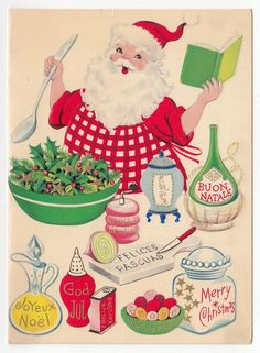 Vintage Greeting Card Christmas Santa Claus Chef Cooking Mid-Century