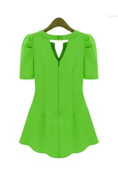 New Style Woman V Neck Short Sleeve Solid Green Chiffon Candy Color Blouse Affordable Clothes, Cheap Clothes, Cheap Shoes, Wholesale Shoes, Wholesale Clothing, Casual Wear, Casual Dresses, Estilo Glamour, Sewing Blouses