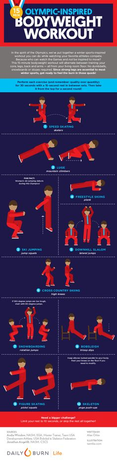 Get in on the 2018 Winter Olympics action with this 15-minute bodyweight workout inspired by your favorite winter sports. #infographic #winterolympics via @dailyburn