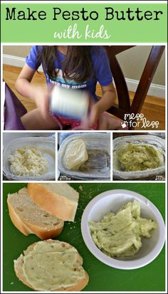 Make Pesto Butter With Kids - this simple 3 ingredient recipe is super fun for kids to make and it tastes amazing spread on bread. Yum!