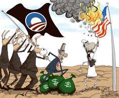 Raising Obama's Repulsive, Disgusting, Bronze Sky/Iron Earth Drought Flag.