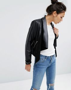 Buy it now. ASOS Leather Waterfall Jacket - Black. Leather jacket by ASOS Collection, Smooth leather, Lightweight design, Contrast panels, Open waterfall front, Zip pockets, Cropped cut, Regular fit - true to size, Specialist leather clean, 100% Real Leather, Our model wears a UK 8/EU 36/US 4. ABOUT ASOS COLLECTION Score a wardrobe win no matter the dress code with our ASOS Collection own-label collection. From polished prom to the after party, our London-based design team scour the globe to…