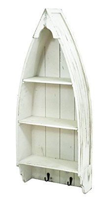 east2eden Antique White Wooden Medium Nautical Boat Shaped Shelving Storage Unit w/ Drawer