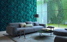Download wallpapers living room, 4k, green interior, modern apartment, 3d panel, sofa, modern design, interior idea