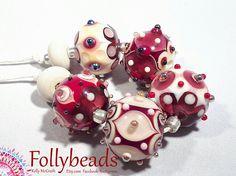 Handmade Lampwork Artisan glass bead set in Ivory Red Dark