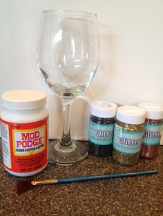 My Simple Obsessions: DIY Glitter Wine Glasses  EASY TO DO LOOKS GREAT see file for my pic.  MUST HAND WASH!
