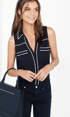 Original fit piped sleeveless portofino shirt from EXPRESS. This would be a cute business casual look for my young teenager's school speeches and such.
