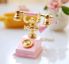 1/12 Dollhouse Miniature Lovely Pink Telephone Phone #minidreamworld