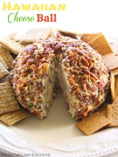 Hawaiian Cheese Ball - a cream cheese ball with crushed pineapple, green onions, and bell pepper. This is such a crowd pleaser. the-girl-who-ate-everything.com from @GirlWhoAte