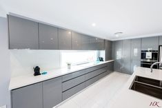 grey-white-modern-kitchen - Harrington Kitchens