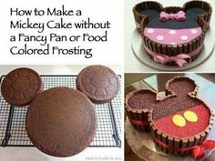 DIY And Household Tips: Mickey And Minnie Mouse Kit Kat Cake cupcakes anniversaire decoration licorne noël recette recipes cupcakes Minni Mouse Cake, Bolo Do Mickey Mouse, Bolo Minnie, Mickey Cakes, Mickey Mouse Cupcakes, Cupcakes Kids, Disney Mickey, Mickey Mouse Desserts, Minie Mouse Party