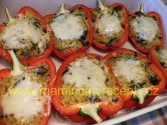 Papriky s žampionovou rýží Baked Potato, Sushi, Potatoes, Vegan, Baking, Ethnic Recipes, Food, Patisserie, Bakken