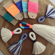 Items similar to DIY Tassel Making Kit. Make your own large or mini tassels with cream cotton rope and waxed neon twine. craft kit, Block colour tassels on Etsy Craft Kits, Craft Projects, Diy Girlande, Diy And Crafts, Arts And Crafts, Decor Crafts, Diy Tassel, Rope Basket, Velvet Ribbon