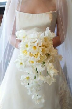 Bride's Cascading Bouquet Comprised Of: White Fringed Tulips