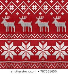 Knitted Christmas and New Year pattern Xmas Cross Stitch, Cross Stitch Borders, Cross Stitching, Cross Stitch Embroidery, Cross Stitch Patterns, Knitted Christmas Stocking Patterns, Knitted Christmas Stockings, Christmas Knitting, Knitting Charts