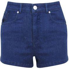 Miss Selfridge Petites Super High Waist Short ($40) ❤ liked on Polyvore featuring shorts, denim shorts, indigo, petite, cotton shorts, petite denim shorts, high-waisted shorts, highwaisted jean shorts and high rise shorts