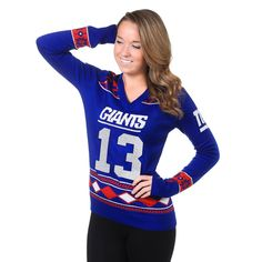 Women's New York Giants Odell Beckham Jr Klew Royal Name and Number Ugly V-Neck Sweater