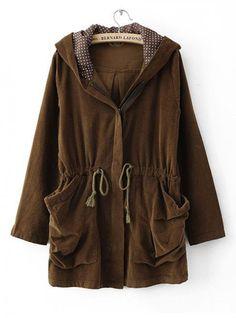 Elegant Hooded Long Brown Outerwear $52.00