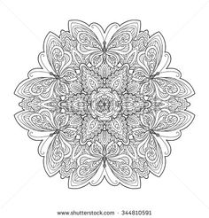 Coloring book for adult and older children. Coloring page with mandala made of decorative vintage flowers and decorative butterflies. Outline hand drawn. Vector illustration. - stock vector