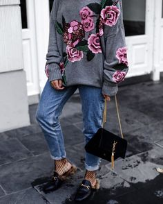 Embroidered knit sweater, boyfriend jeans, Gucci loafers and fishnet stockings