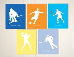 Tennis, ice hockey, football, soccer, skiing, boys sports wall art, sports posters, boys room wall art, set of 5, custom colors by PicabooArtStudio, $29.00