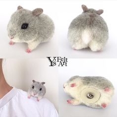 Needle felted hamster. A good idea to keep the animal on your shoulder.