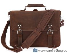 16″ Handmade Leather Messenger Bag /Business Leather Traveling Bags /Retro Large Size Messenger Bag