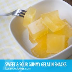 sour lemon gummy gelatin snacks - making these TOMORROW! Paleo Recipes, Whole Food Recipes, Cooking Recipes, Paleo Treats, Healthy Snacks, Fruit Snacks, Grass Fed Gelatin, Paleo Nutrition, Gelatin Recipes