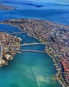 Istanbul's Golden Horn From The Air. The old part of the city (the Golden Horn) is on the right. Hagia Sophia Istanbul, Soho House Istanbul, Roadtrip Europa, Empire Ottoman, Golden Horn, Istanbul Travel, Turkey Travel, Adventure Is Out There, Best Cities