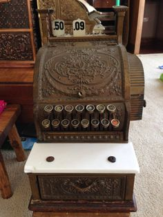 Antique RED BRASS BRONZE National Cash Register NCR Barber Shop Candy Store 316