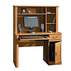 Orchard Hills Small Space Computer Desk with Hutch(Carolina Oak Finish)