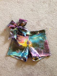 Galaxy spandex shorts and bow  on Etsy, $22.00