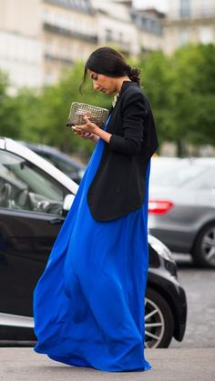 Women's Gold Necklace, Gold Leather Clutch, Black Double Breasted Blazer, and Blue Maxi Dress