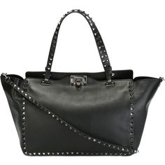 Valentino Garavani Rockstud Trapeze Tote (€2.925) ❤ liked on Polyvore featuring bags, handbags, tote bags, black, black purse, black top handle handbag, valentino tote, valentino tote bag and black tote