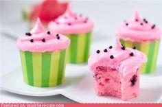 Watermelon sponge cupcakes