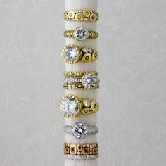Alex Sepkus engagement ring and wedding bands @ Jewelry Art.