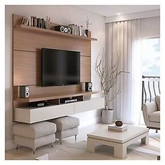 Create a stylish theatrical vibe for your room with this Manhattan Comfort City Floating Wall Theater Entertainment Center in Maple Cream and Off White. Tv Cabinet Design, Tv Wall Design, House Design, Ikea Design, Floating Entertainment Center, Home Entertainment Centers, Entertainment Furniture, Entertainment Stand, Ruang Tv