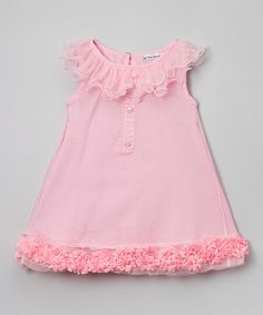 Look at this Pink Ruffle Shift Dress - Toddler & Girls on #zulily today!