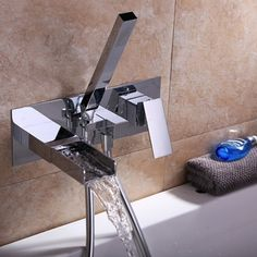 Modern waterfall wall-mount tub filler faucet & handshower ideal for any contemporary bathroom. Sold at US$199.99