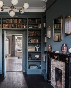 Home Library Rooms, Home Libraries, Library Study Room, Home Office Design, House Design, Inchyra Blue, Farrow Ball, New Blue, My Dream Home