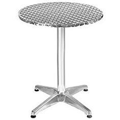 Giantex Aluminum Stainless Steel Round Table 23 1/2″ Patio Bar Pub Restaurant Adjustable