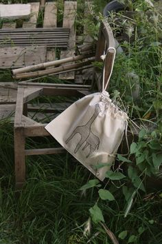 Natural Cotton Bread Bag Girafeco-friendly gym by kuskatdesigns