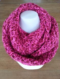 Fuchsia scarf Crochet scarf Crochet snood Knit by Crochet Snood, Crochet Scarves, Crochet Christmas Gifts, Crochet Gifts, Loop Scarf, Circle Scarf, Aluminum Wire Jewelry, Crochet Pillow Cases, Fuchsia