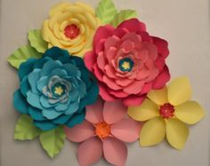 Giant Paper Flowers-Set of 7 by LuxyFlowers on Etsy