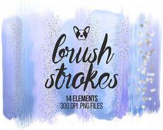 Pastel Brush Strokes Clip Art, Blue Brush Strokes Glitter Clipart, Brush Clipart, Watercolor Brush, Scrapbooking Clipart, Design Clipart