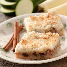 "Mock Apple Pie Squares Recipe -No one ever guesses these sweet ""apple"" slices are made with zucchini. In fact,…"