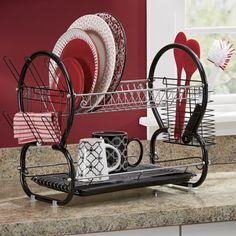 Two Tier Dish Drainer red and silver available $18