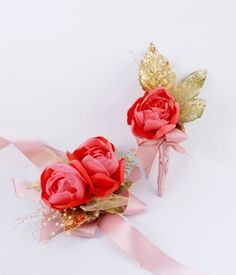 Wedding Boutonniere Coral and Gold Wrist Bridal Corsage  - pinned by pin4etsy.com