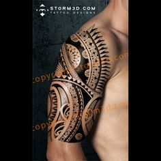 It fits perfect on your upper arm/shoulder and also on the chest, calf and upperback. The patterns range from turtelshell designs to spearheads and more. Boy Tattoos, Arm Tattoos For Guys, Body Art Tattoos, Tatoos, Tribal Shoulder Tattoos, Mens Shoulder Tattoo, Arm Tats, Arm Sleeve Tattoos, Mandala Tattoo Design