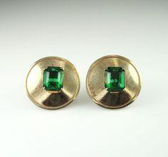 Vintage Earrings Marino Emerald Green Rhinestone by zephyrvintage, $15.00 #vintageearrings #vintagejewelry #marino #emeraldgreenjewelry #modjewelry
